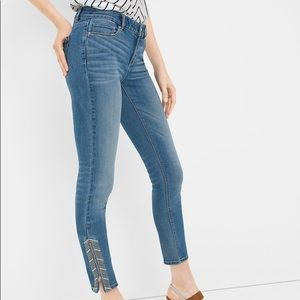 WHBM The Skimmer Ankle Zipper Embroidered Jeans